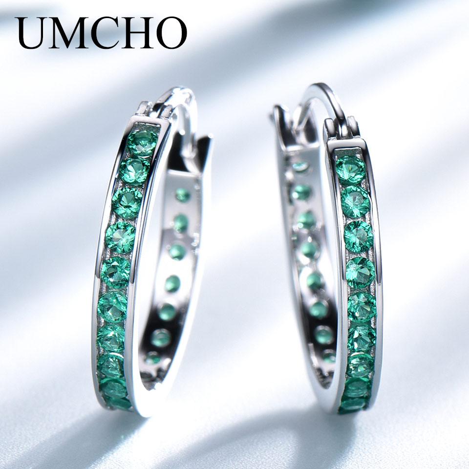 Umcho real 925 brincos de prata esterlina nano esmeralda brincos de argola de prata bonita jóias de casamento acessórios de moda presente de festa