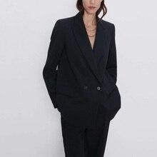 Осенне-зимний женский Блейзер, повседневный однотонный двубортный пиджак с карманами