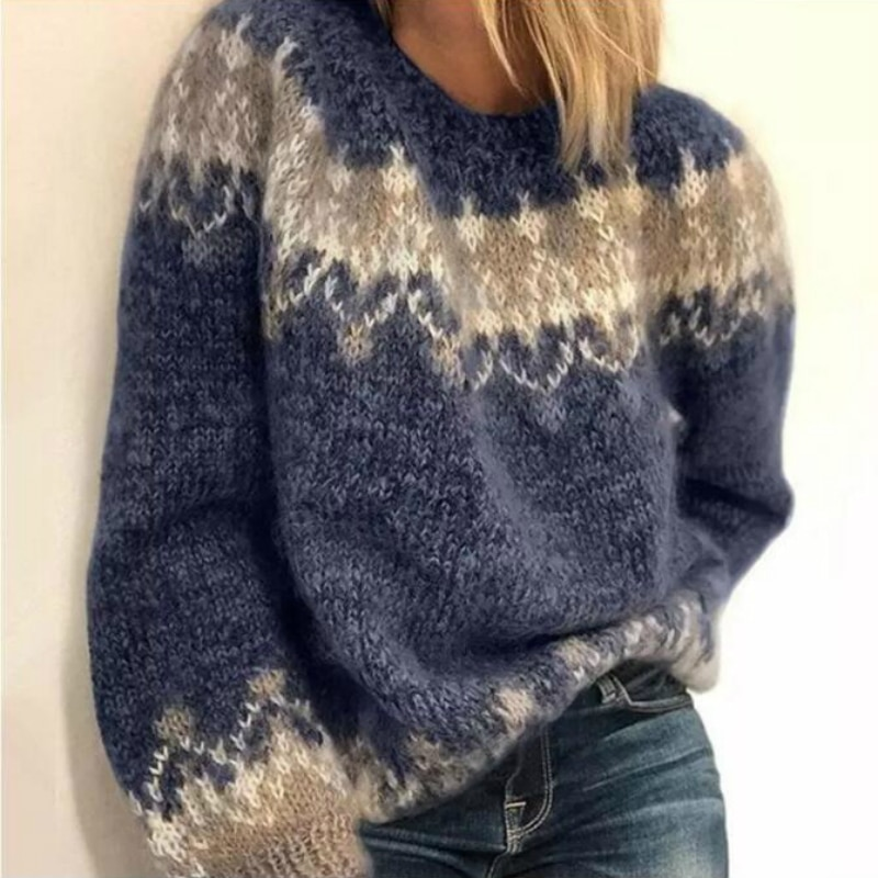 Women Elegant O-Neck Knitted Sweater Autumn Vintage Patchwork Long Sleeve Tops Jumpers Winter Thick Warm Loose Pullover Sweaters недорого