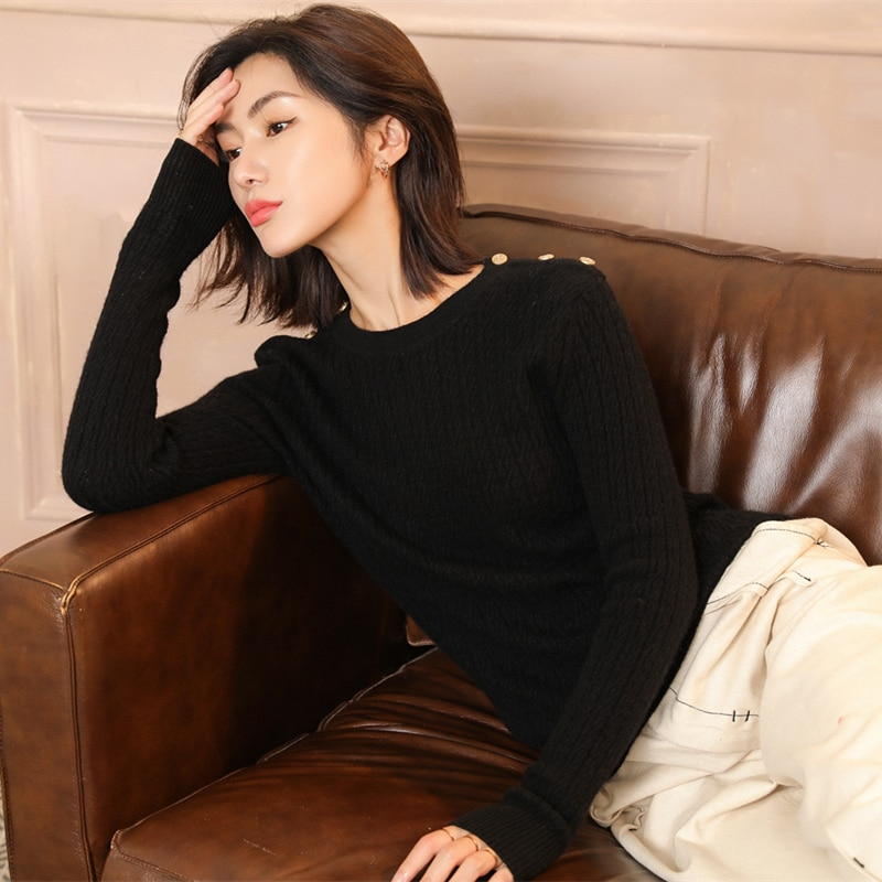 adishree 2019 woman winter 100% Cashmere sweaters and auntmun knitted Pullovers High Quality Warm Female thickening O-neck enlarge