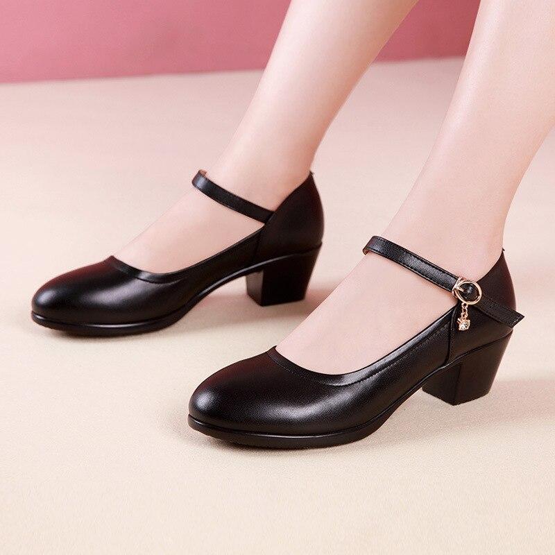 Clássico preto branco bloco sapatos de casamento bombas femininas 2021 outono médio sapatos mary jane senhoras 41 42 43