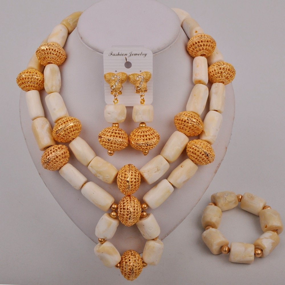 Fashion African Jewelry Set White Coral Nigeria Wedding African Beads Jewelry Sets