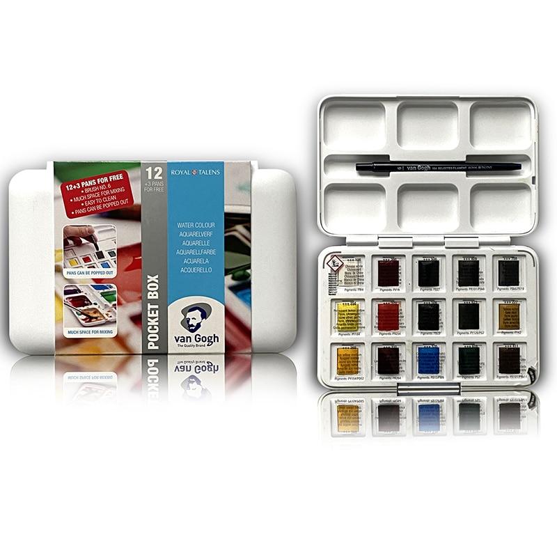Juego de Acuarelas sólidas de Van Gogh, conjunto de Acuarelas con pincel, suministros de arte Profesionales, 15 colores, nuevo paquete