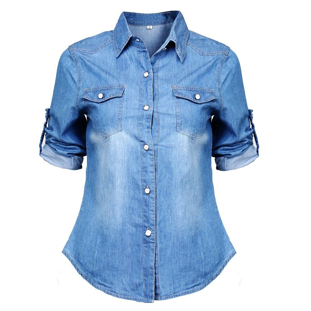 Camisa vaquera clásica de moda para mujer, blusa Formal de oficina de manga larga para exteriores