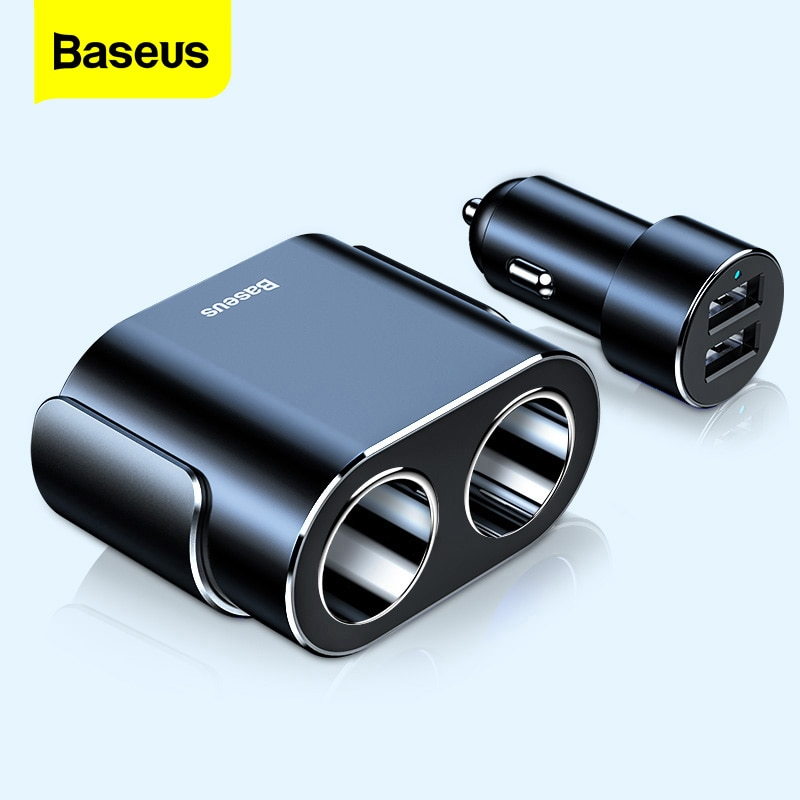 Baseus Cigarette Lighter Splitter 12V Car Charger Dual USB 100W Power Adapter Socket for Auto Vehicl