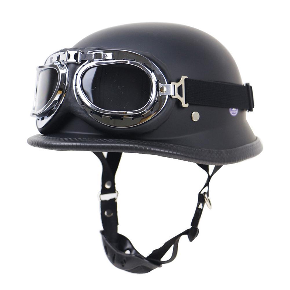 Casco alemán locomotora casco Retro motocicleta casco al aire libre montar medio casco con gafas