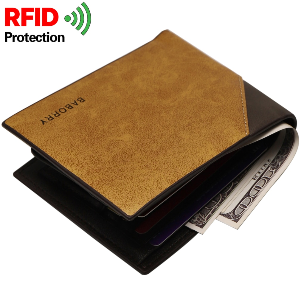 2021 New Men Wallets Name Customized PU Leather Short Card Holder Chain Men Purse High Quality Brand