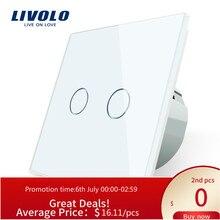 Livolo EU Standard Tactile Interrupteur À Distance, Panneau de Verre En Cristal, 2Gang 2Way,220 ~ 250V,C702SR-11, Pas de télécommande, pas de logo