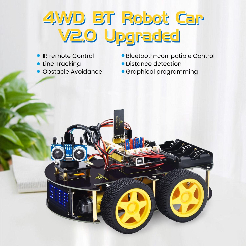 Keyestudio 4WD متعدد BT روبوت سيارة عدة ترقية V2.0 ث/LED عرض لاردوينو روبوت الجذعية ايدو/برمجة روبوت سيارة/لتقوم بها بنفسك عدة