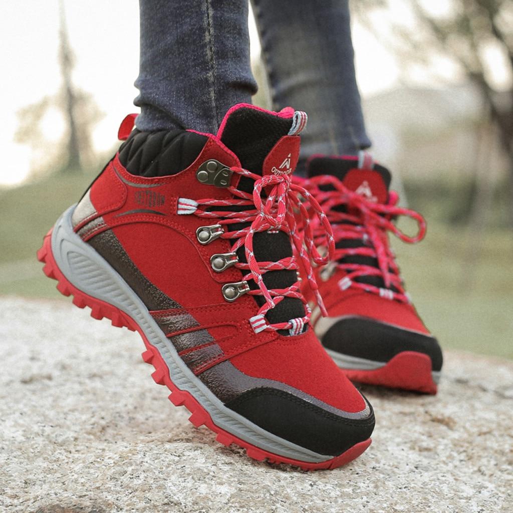 Women Winter Hiking Sneakers Outdoor Warm Plush Sports Shoes Female Non Slip Wear Resistance Flat Sh