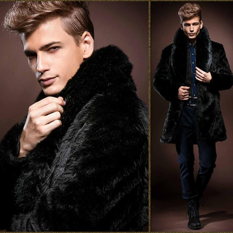 شحن مجاني جديد الرجال الأسود تقليد الأرنب الفراء طويلة ضئيلة الفراء معطف الذكور الاستبداد شخصية الدافئة تقليد الفراء معطف الشتاء