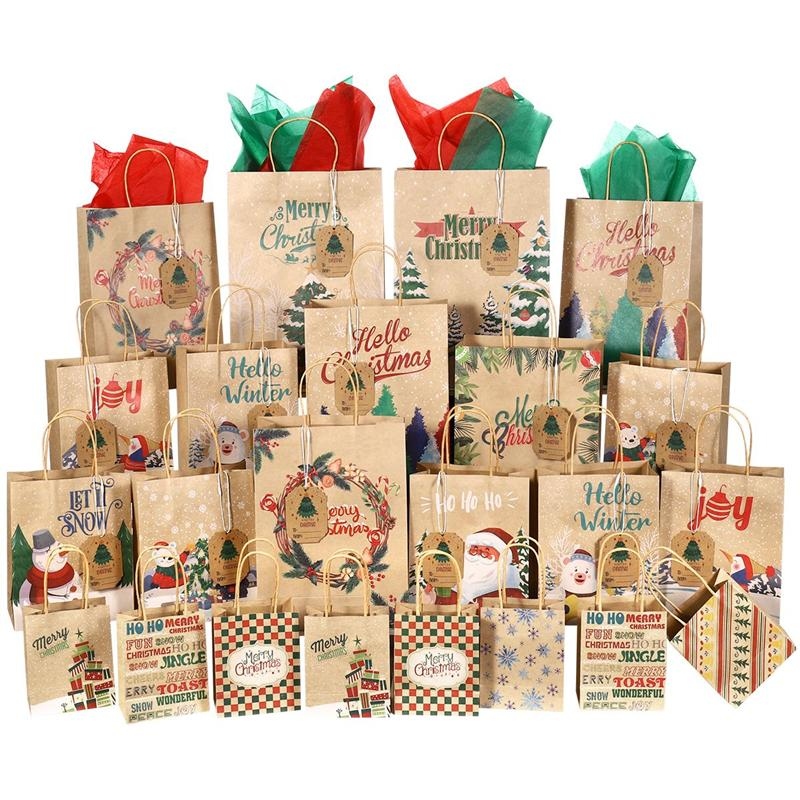 Christmas Gift Bags Paper Treat Bags Kraft Goodies Holiday Party Favors Supplies with 28pcs Tissue P