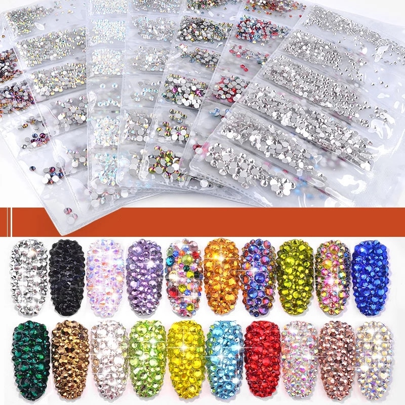 40 Colors Mix Sizes Crystal AB Glass Nail Art Rhinestone Glitter Crystals Strass for Decorations
