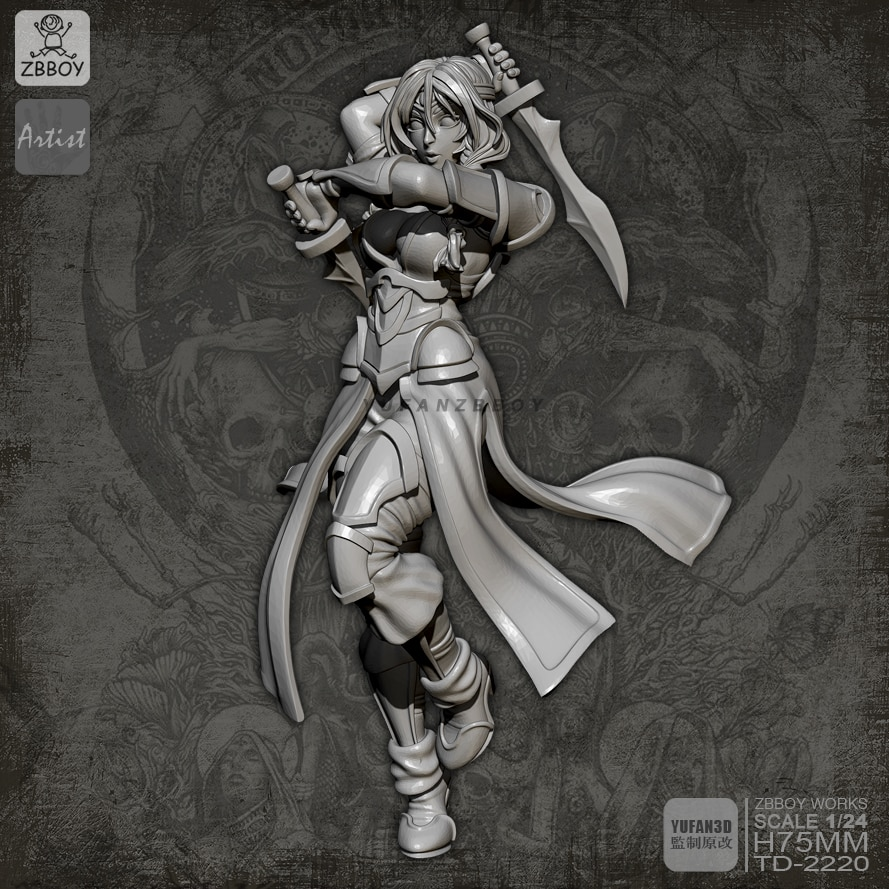 1/24 Kits de figuras de resina de doble espada diosa modelo autoensamblado TD-2220