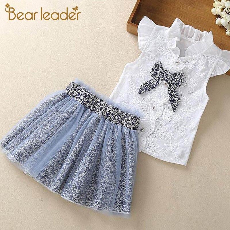 Líder meninas conjunto de roupas novas crianças verão roupas da menina sem mangas camiseta e vestido com arco-nó crianças terno outfit 2 6y