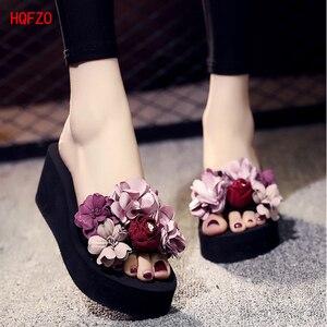 HQFZO Beach Elastic Slippers Chanclas Women Shoes Platform High Heel Flip Flops Sandals Zapatos Mujer Casual Wedges Terlik