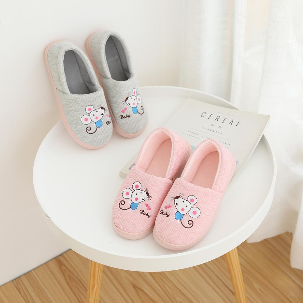 Millffy linda mouce sapatos mulher Chinelos para menina rosa Interior rato cinzento Morno Mulheres sapatos Casa Piso Macio