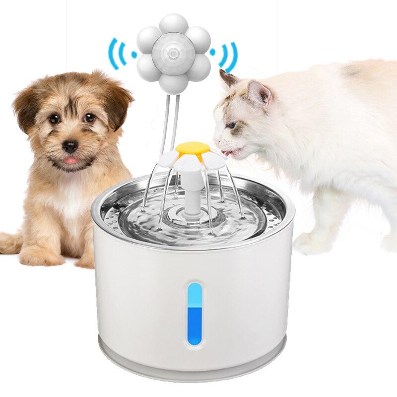 자동 고양이 물 분수 애완 동물 강아지 적외선 모션 센서와 함께 그릇을 마시는 물 디스펜서 피더 LED 조명 전원 어댑터