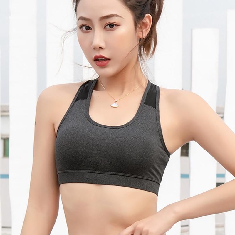 Transpirable para correr, Fitness, Yoga, deportes, camisetas elásticas, Sujetador deportivo, absorben el sudor, acolchado a prueba de golpes Sujetador deportivo, Top Atlético