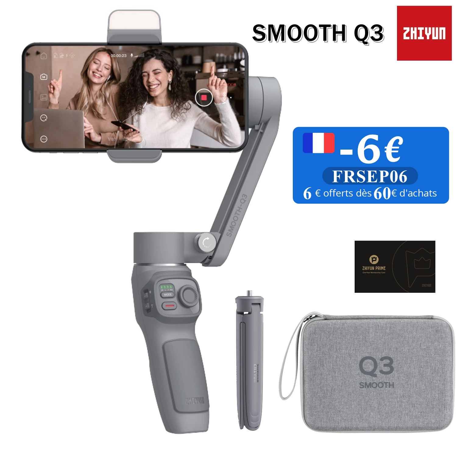 Promo Zhiyun Smooth Q3 3-Axis Gimbal Stabilizer with 180° Rotatable Fill Light for iPhone 12Pro Xs Max 8 Android Cell Phone Smartphone