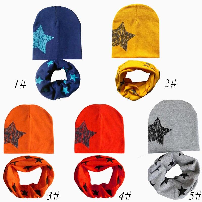 2Pcs/Set Fashion Star Pattern Cotton Warm Baby Hats Scarf Autumn And Winter Kids Children Girls Boys Photography Props
