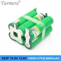 turmera battery pack 3s 12 6v 4s 16 8v 5s 21v 6s 25v us18650vtc6 3000mah battery 30a for shurika screwdriver battery customize