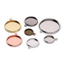 20 pièces/lot 10 12 16 mm rond Cabochon Base plateau Bezels blanc réglage fournitures pour la fabrication de bijoux résultats Bracelet pendentif