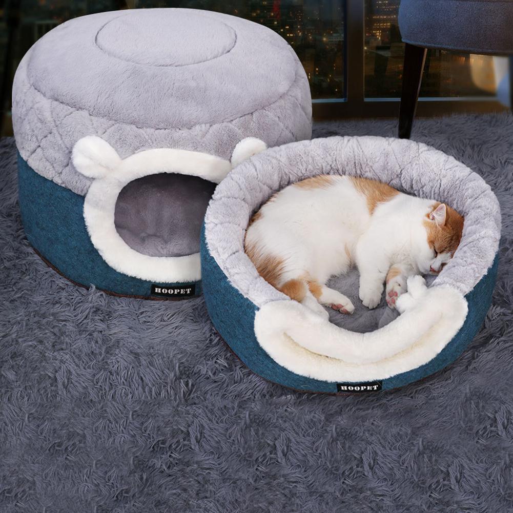 Pet Cat Dog Warm Comfortable Universal Dual Use Cat Nest Round Detachable Washable Thicken Plush Warm Cozy Sleeping Bag