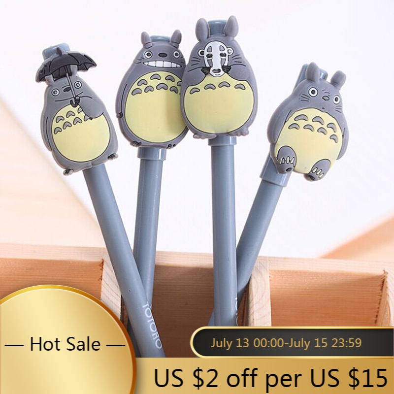 Lote de 4 Uds. De bolígrafos Unisex de Totoro con tinta de Gel de dibujo animado bonito de mi vecino, papelería Escolar de firma