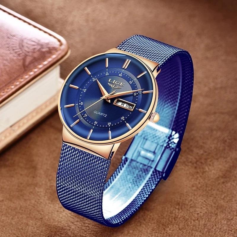 LIGE Women Watches Luxury Brand Ultra-thin Calendar Week Quartz Watch Ladies Mesh Stainless Steel Waterproof Gift reloj muje+Box enlarge