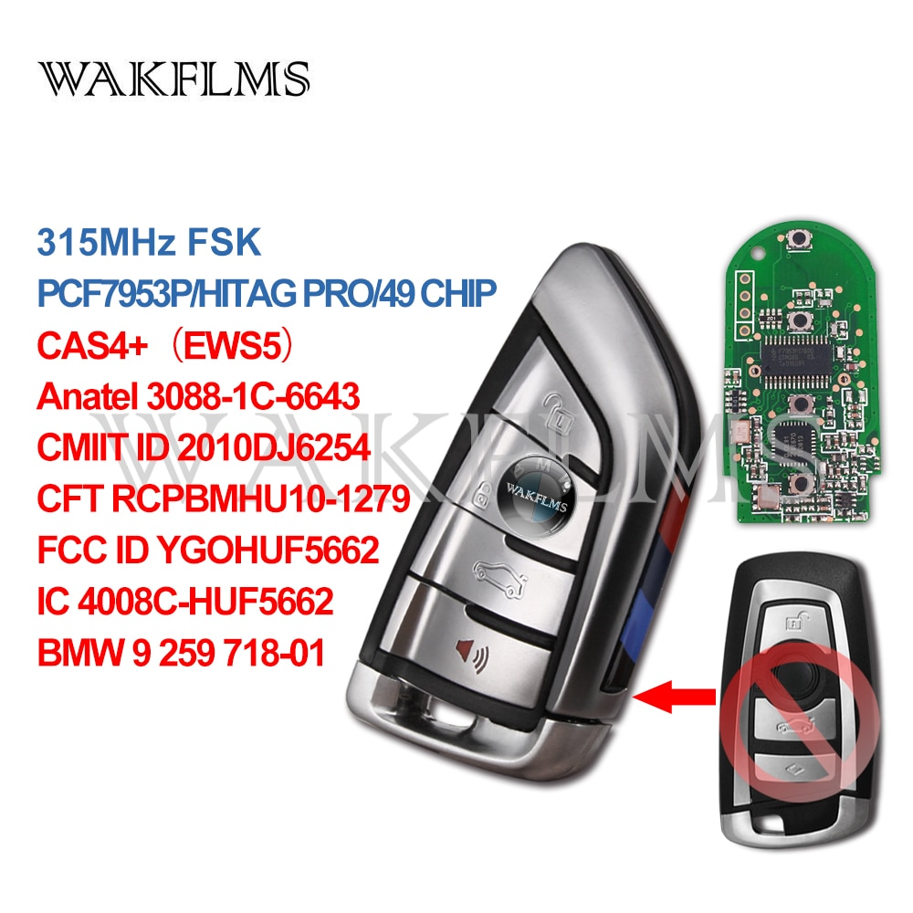 4btn Smart Key Remote Fob For BMW F Series FEM BDC/7 Series CAS4 CAS4+ 730 740 750/5 Series 520 525 530 535 PCF7953P 315MHz FSK