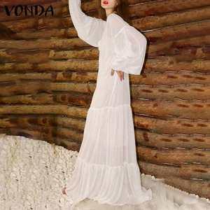 Long Dress Long Sleeve Sundress V Neck Bohemian Ruffle Floor-Length Dress 2021 VONDA See Through Polka Dot Maxi Dresses