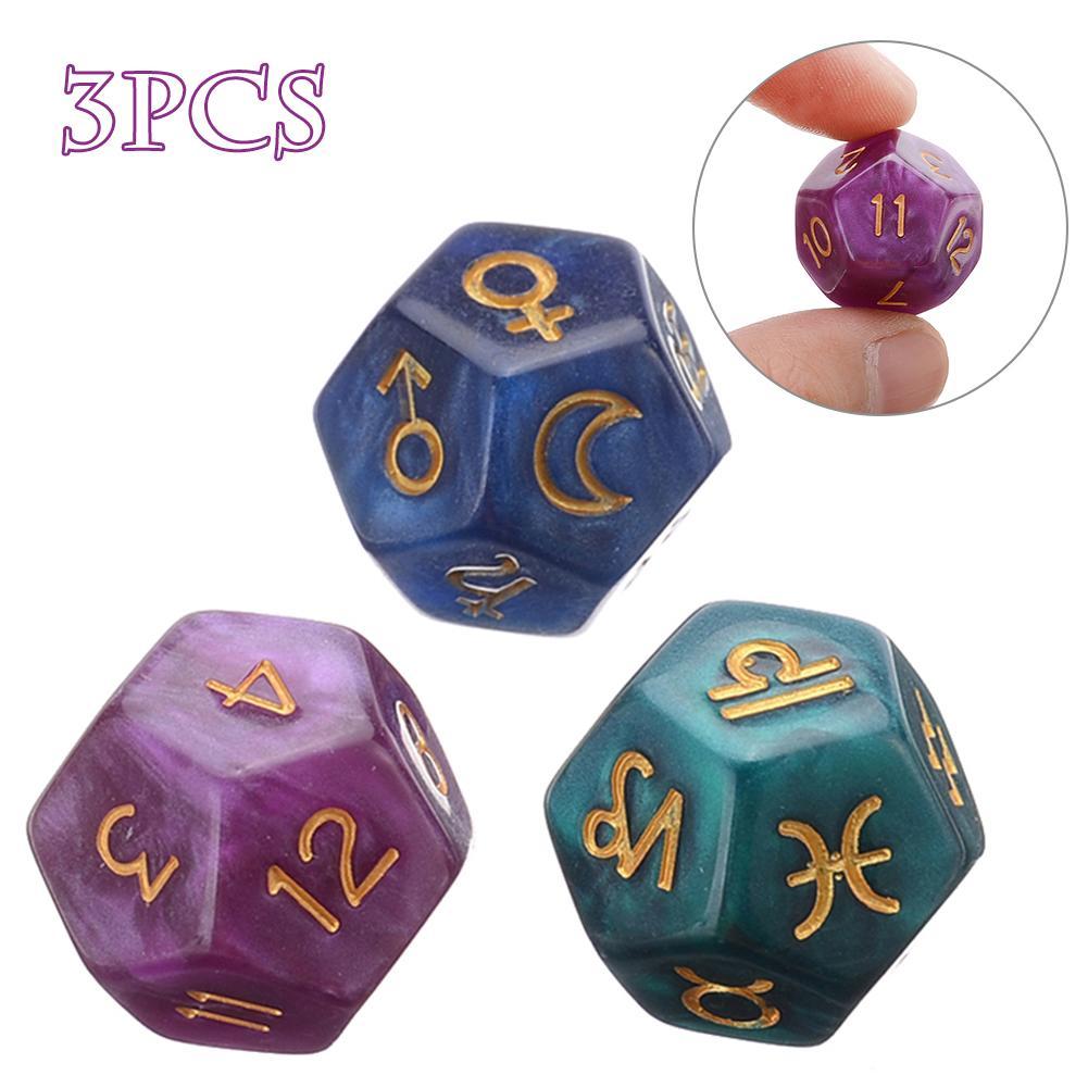 Novo 3 pçs 12-face tarô dice resina pinças astrologia tarô constelação adivinhação dice família amigo festa cartões jogo dados