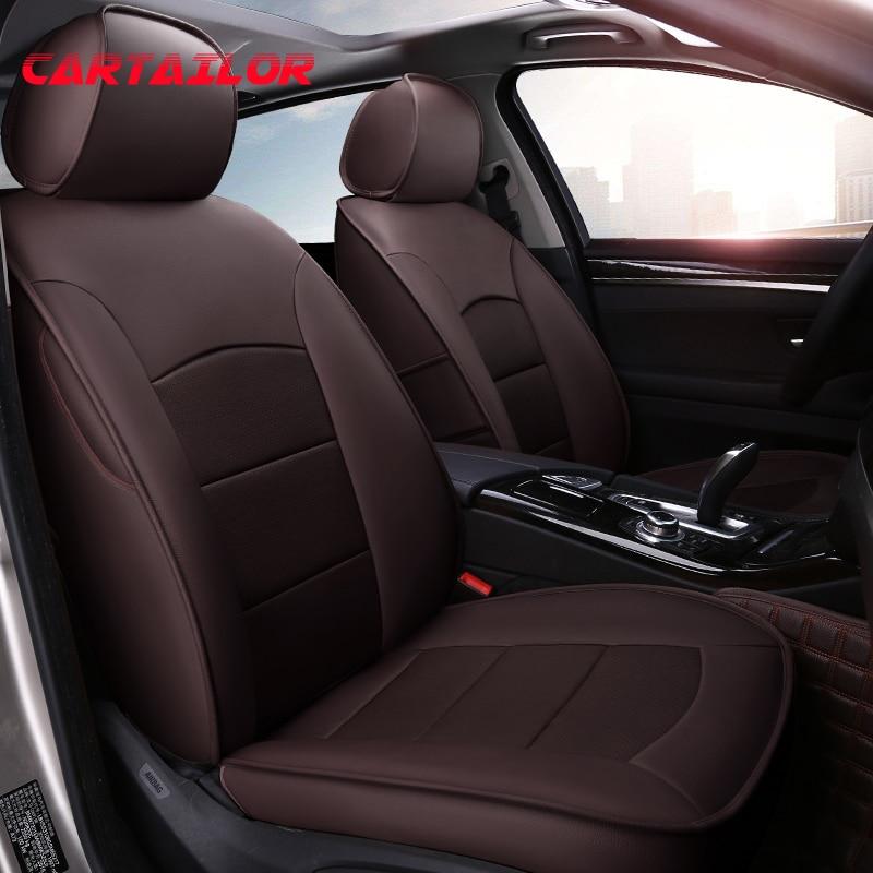 CARTAILOR conjunto de fundas de asiento de coche de cuero genuino apto para Ford Mustang cubierta de coches asientos de cuero de vaca compatible con Airbag Protector de coche negro