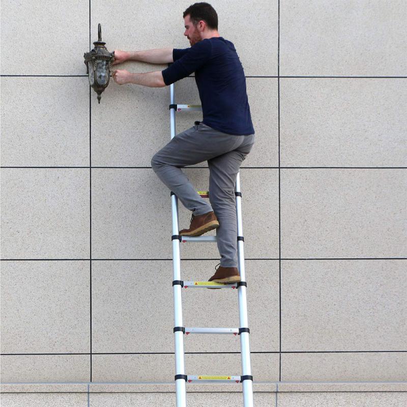 Foldable Telescopic Herringbone Ladder Stable Non-slip Aluminum Ladder Household Step Ladder Straight Ladder HWC2m Ladders