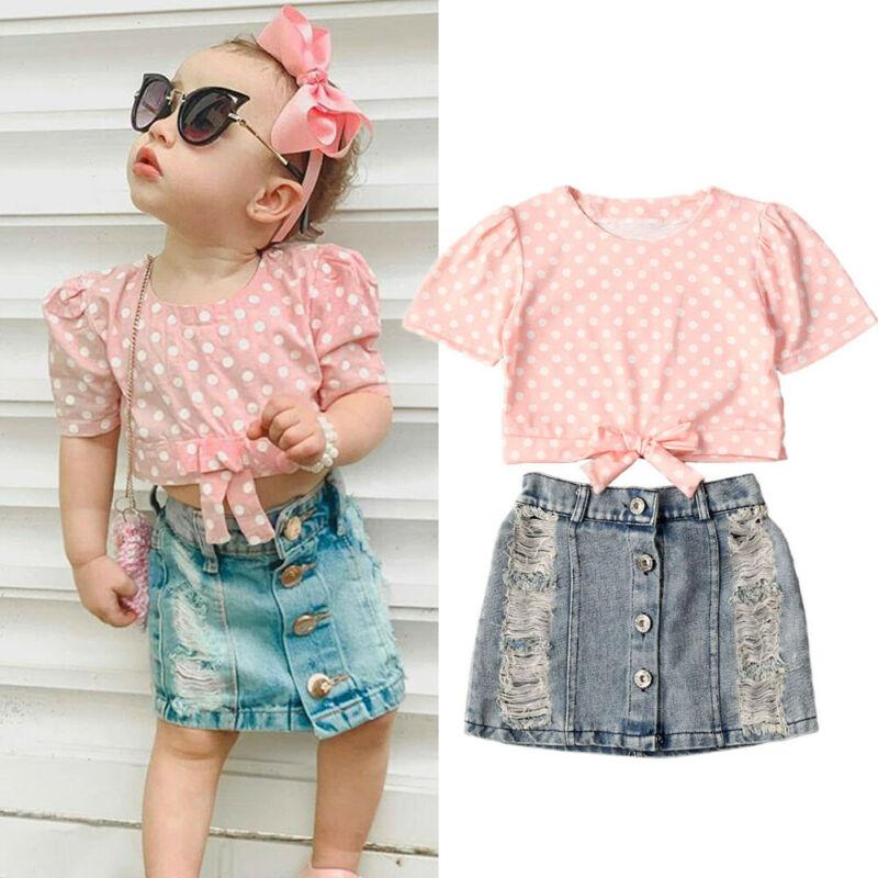 2 uds. Pequeño chico para bebés de conjuntos de ropa de 1 a 6 años con mangas abullonadas, camiseta de lunares, Faldas vaqueras, conjunto de ropa de verano