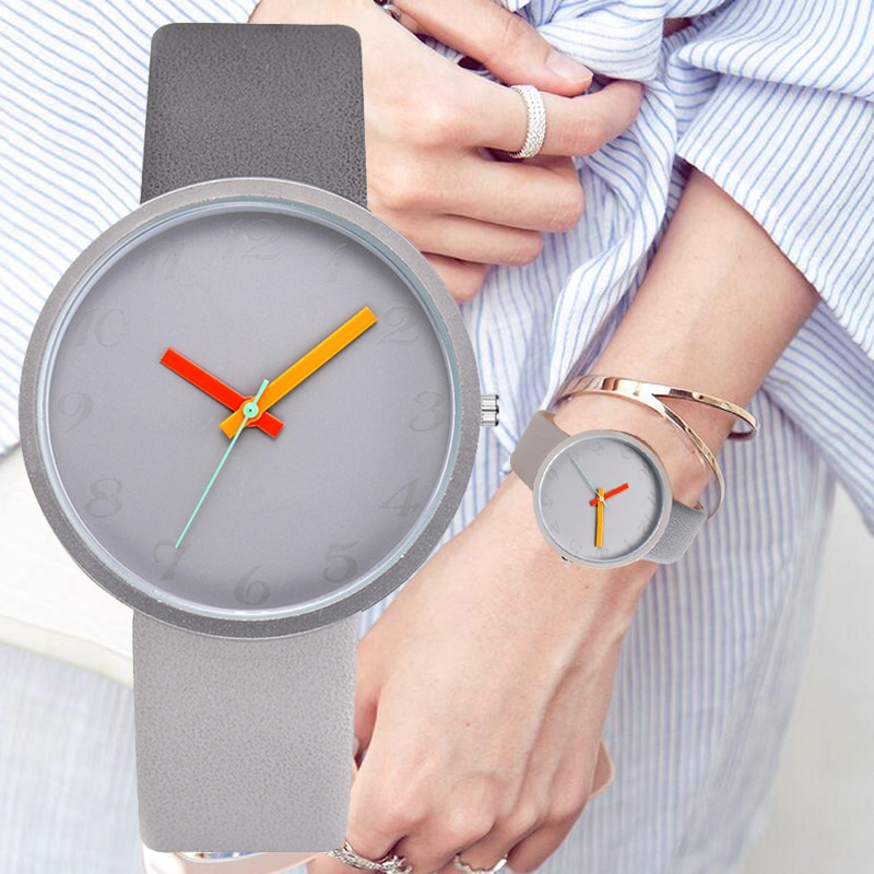 Women Watch Gray Contrast Leather Quartz Watch Women Men Watches Lovers Unisex Casual Ladies Wrist W