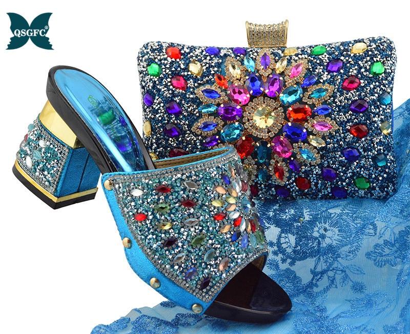 Bleu ciel nouveauté design italien dames chaussures et ensemble de sacs avec des chaussures de mariage et des sacs pour les femmes nigeria sac et ensemble de chaussures