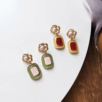 fashion jewelry geometric earrings 2021 new design vintage temperament red pink drop earrings for girl fine accessories