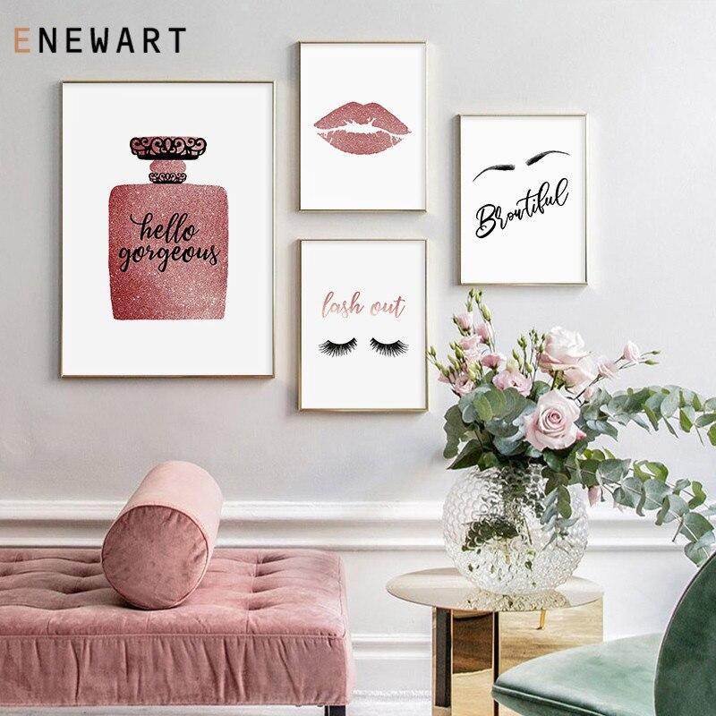 Póster de moda de maquillaje con impresión de labios rojos, botella de Perfume, pintura en lienzo, ilustración de moda, imagen de salón de belleza, decoración de habitación de chicas