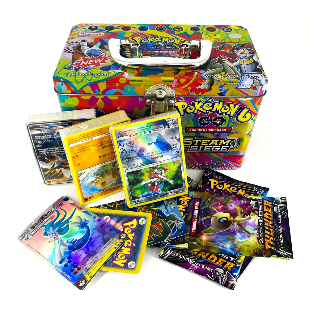 Takara Tomy Pokemon Card Metal Box Table Card Game MEGA Trainer Energy Collections Board Cards Battle Toys 153cards for Kids недорого