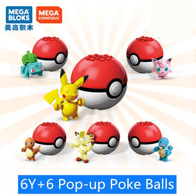 Mattel MEGA BLOKS serie Pokemon Ball, bloques de construcción pequeños, Pikachu, monstruos de bolsillo, Cosplay Pop-up, bolas de juguete para niños, regalos