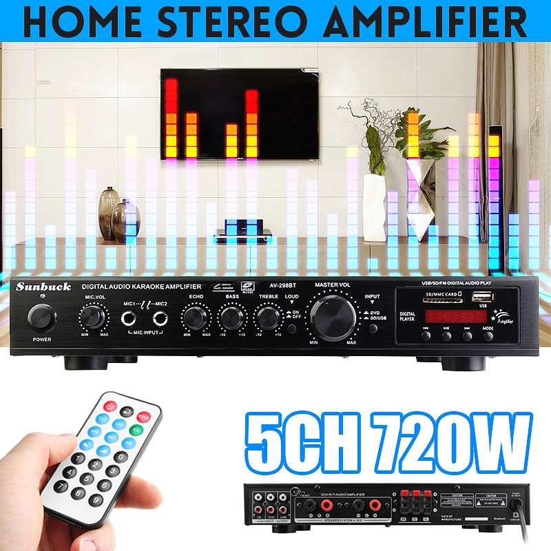 Amplificador HiFi de 720W con Bluetooth, 5 CANALES, LED, estéreo, Digital, para...