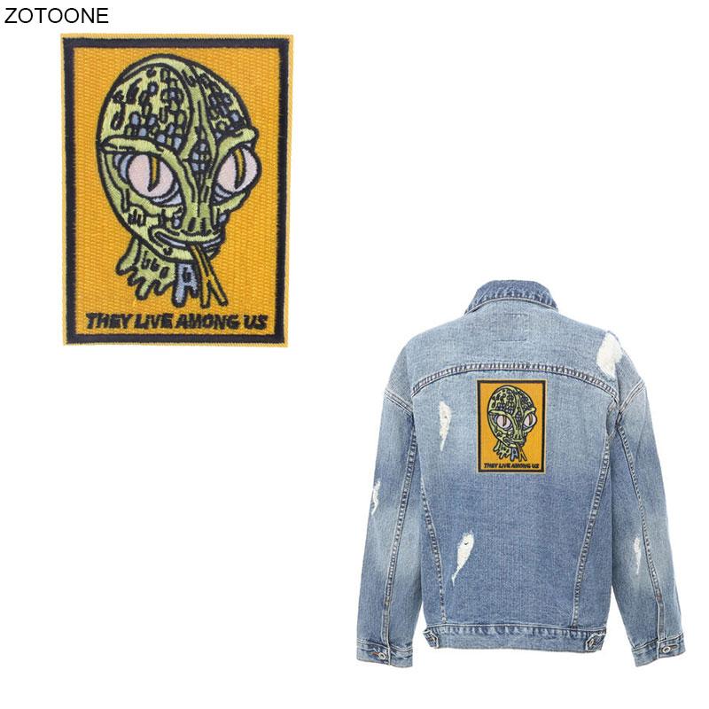 Parche de OVNI ZOTOONE Alien, parches de hierro para ropa, chaquetas, bordado por transferencia de calor, aplique DIY, insignia cosida, prensa térmica G