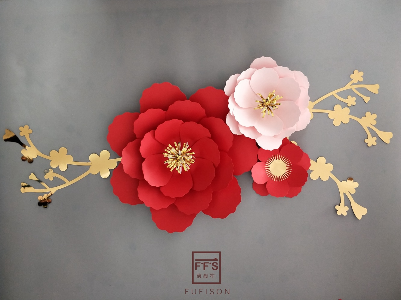 FFS flor de ciruelo rojo 3D Flor de Papel artificial decoración tridimensional fiesta boda shopwindow decoración de pared