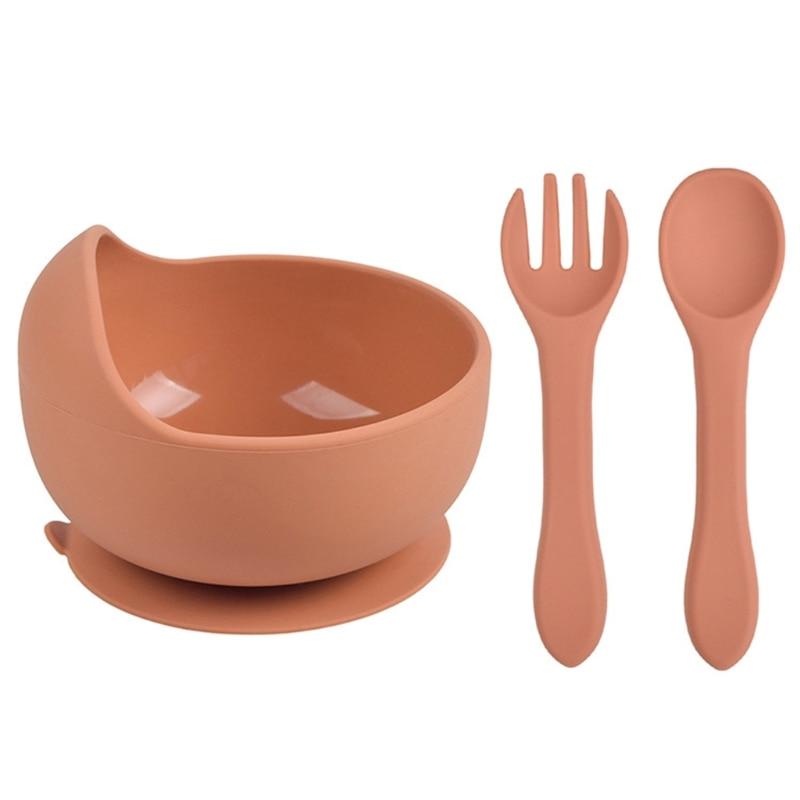 3 Pcs Baby Training Feeding Food Bowl Spoon Fork Set Anti Slip Silicone Suction Dishes Utensil BPA-Free Tableware