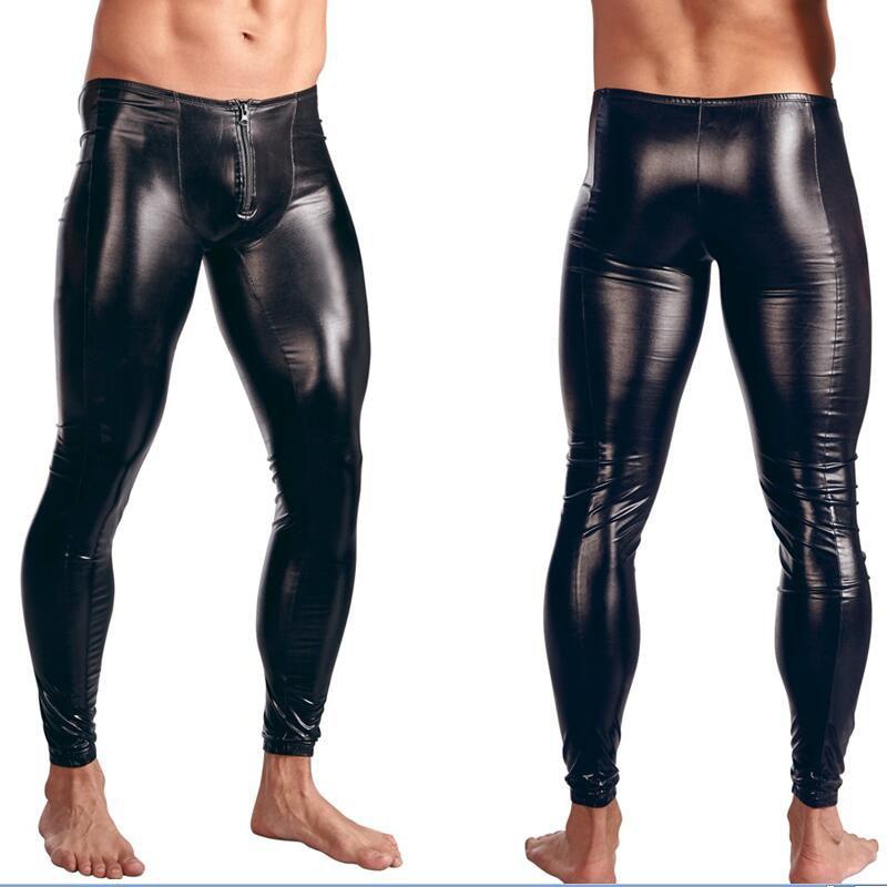 Wonder Beauty Gothic Leggings Men's Trousers Pants Stage Performance Lingerie Men Wetlook Faux Leather PVC Gay Club Dance Wear