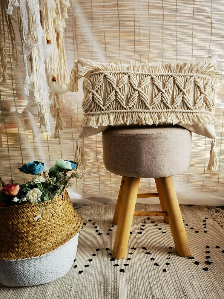 غطاء وسادة مكرميه مصنوع يدويًا ، غطاء وسادة بوهيمي ، زينة للزفاف ، مقاس ولون مخصصين