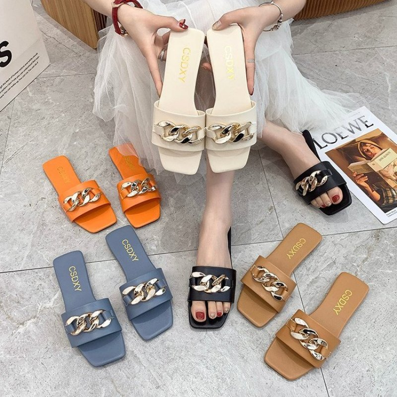 new arrival women summer sandals slippers leisure soft flip flops striped round toe casual shoes high quality beach slippers s Women Summer Slippers Square Toe Metal Chain Sandals Female Flat Beach Flip Flops  Ladies Big Size Comfortable Casual Shoes