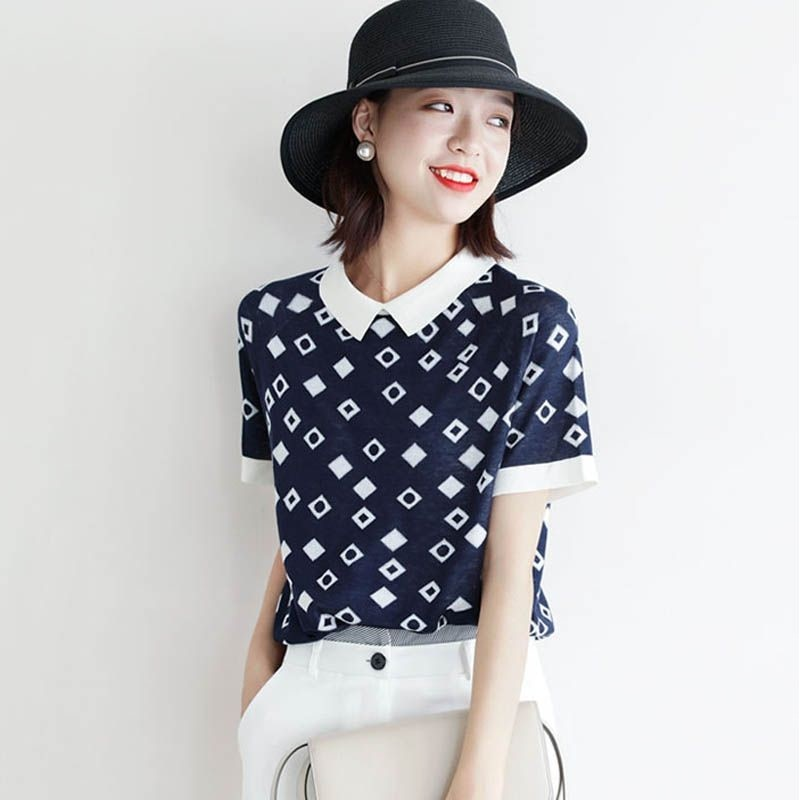 Summer T-shirt jacquard short sleeve T-shirt women's leisure comfortable color comfortable leading trend style summer